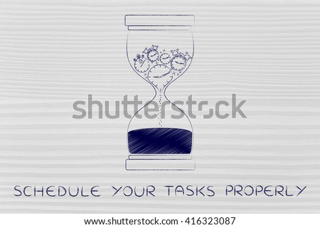 schedule your tasks properly: hourglass with clocks stopwatches and alarms melting to sand, concept of time passing by and living life to the fullest - stock photo