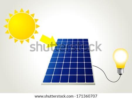 Schematic illustration of solar energy - stock photo