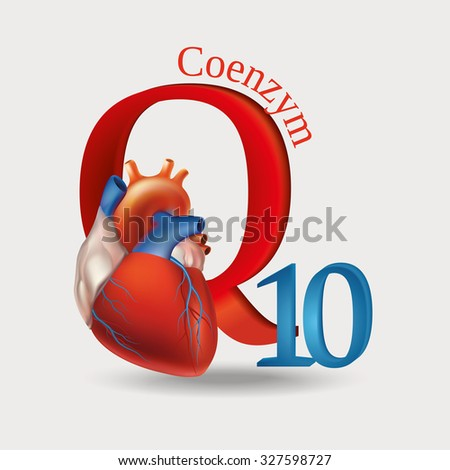 Schematic representation of Coenzyme Q10 - antioxidant substances necessary for the maintenance of normal heart function. Light background. Raster version. - stock photo