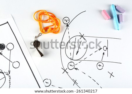 Scheme basketball game on sheet of paper background - stock photo
