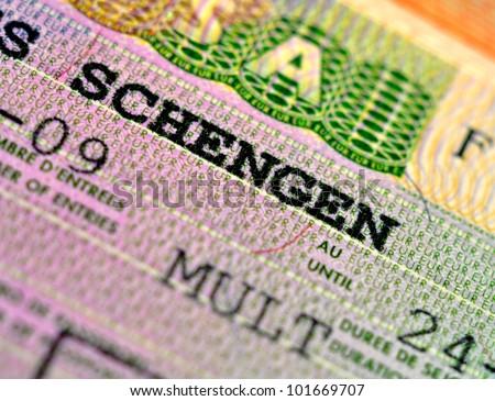 Schengen visa stamp - stock photo