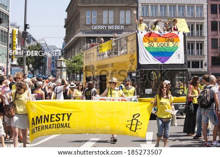 Schildergasse,Cologne,Germany.July 7,2013.CSD(Christopher Street Day)  gay pride parade in Cologne, Germany. This year's parade was themed 'Yes, I Want'. - stock photo