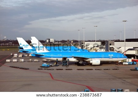SCHIPHOL, NETHERLANDS - February 24, 2014: KLM or Royal Dutch Airlines in English is the flag carrier airline of the Netherlands. - stock photo