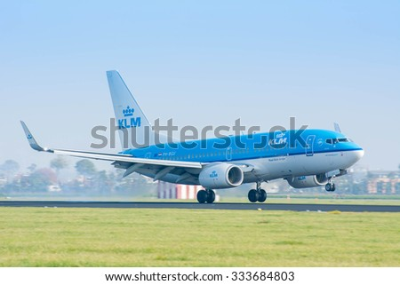 Schiphol, Noord-Holland/Netherlands- September 18-09-2015 -Plane from KLM Royal Dutch Airlines PH-BGU Boeing 737-700 landed at Schiphol Airport. Photo taken during daylight, aviation background.  - stock photo