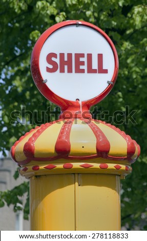 Schipluiden,netherlands-may 13, 2015: Columnar diesel pump with shell logo for shipping on the Gaag,not in use anymore - stock photo