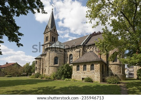 Schledehausen, Roman Catholic St. Laurentius Church of 1897, Osnabrueck country region, Lower Saxony, Germany, Europe - stock photo