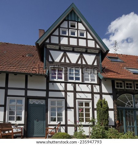 Schledehausen, Timbered house in Lower Saxony, Osnabrueck country, Lower Saxony, Germany, Europe - stock photo
