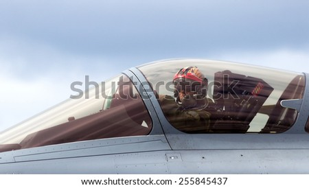 SCHLESWIG-JAGEL, GERMANY - JUN 23, 2014: French Air Force Rafale pilot close up during the NATO Tiger Meet at Schleswig-Jagel airbase. The Tiger Meet is to promote solidarity between NATO air forces - stock photo