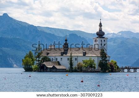 Schloss Ort, castle in Gmunden, Austria, Europe - stock photo