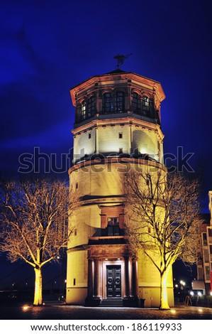Schlossturm in Dusseldorf Altstadt, Germany at night - stock photo