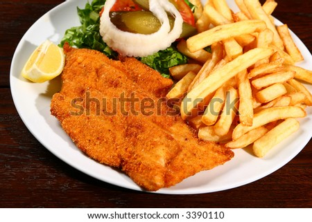 schnitzel served - stock photo