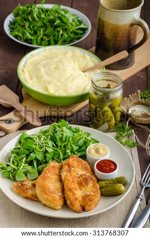 Schnitzel with mashed potatoes and salad, delicious pickles cucumber - stock photo