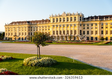 Schoenbrunn palace in Vienna on the 31 August 2015 - stock photo
