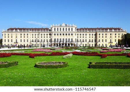 Schoenbrunn Palace in Vienna,UNESCO World Heritage Site - stock photo