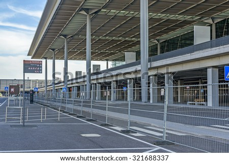 SCHOENEFELD, GERMANY - AUGUST 21, 2015: Construction site of the Berlin Brandenburg International Airport (Flughafen Berlin Brandenburg Willy Brandt) on Aug 21 2015 in Schoenefeld near Berlin - stock photo