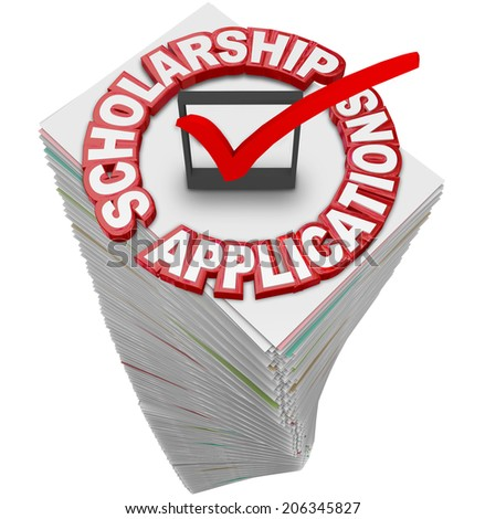 Scholarship Applications paperwork stack for you to fill out and apply for merit awards and financial support for a college or university or other school of higher learning - stock photo