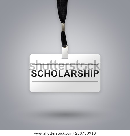scholarship on badge with grey radial gradient background - stock photo
