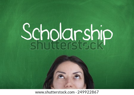 Scholarship / Student Thinking About Scholarship - stock photo