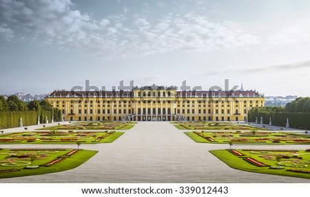 Schonbrunn palace in Vienna, Austria - stock photo