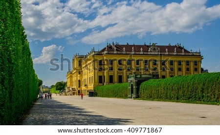 Schonbrunn Palace in Vienna, Austria. The former imperial summer residence is Viennas most visited tourist attraction. - stock photo