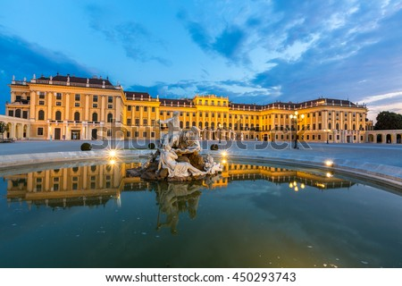 Schonbrunn Palace Vienna Austria at dusk - stock photo