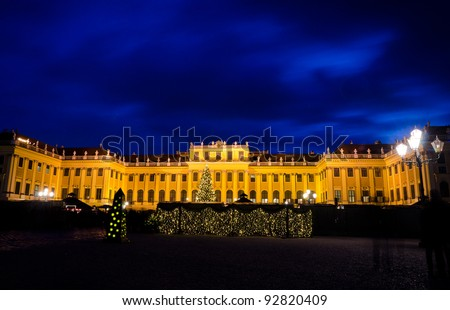 Schonbrunn Palace with Christmas decoration - stock photo