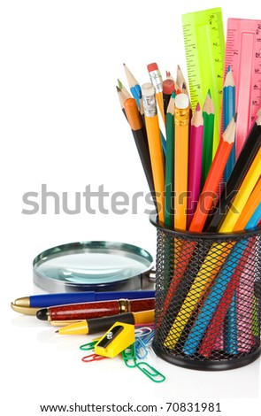 school accessories isolated on white background - stock photo