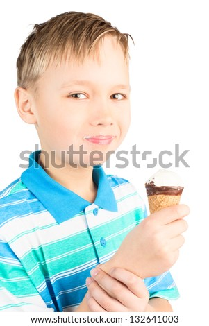 School-Age Boy Eating Cone Ice Cream, Isolated on White - stock photo