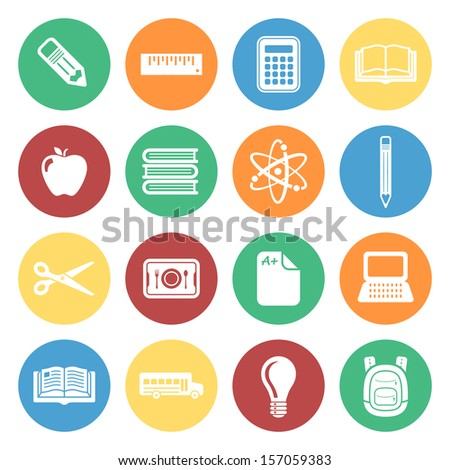 School and Education Colorful Icon Set.  Raster version. - stock photo