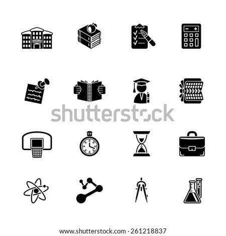 school and education icon set - stock photo