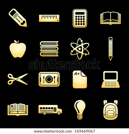 School and Education Icons Gold Icon Set.  Raster version. - stock photo