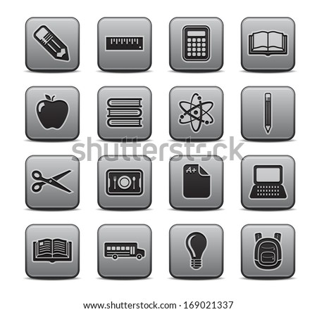 School and Education Icons Square Icon Set.  Raster version. - stock photo