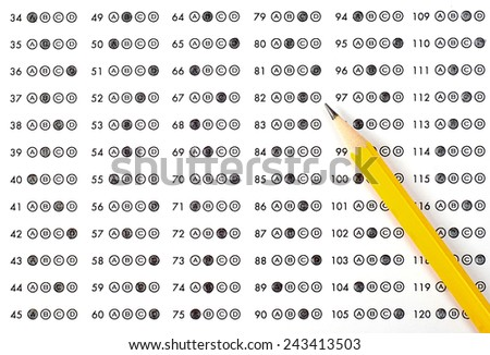 School and Education. Test paper with result - stock photo