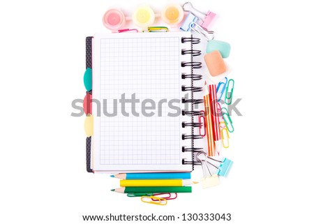 School and office stationary isolated on white. Back to school concept - stock photo