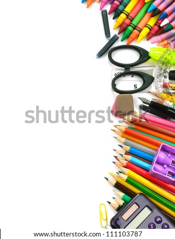 School and office supplies frame, on white background, back to school - stock photo