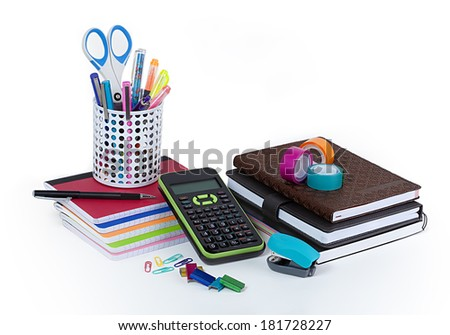 School and office supplies isolated on white background. - stock photo