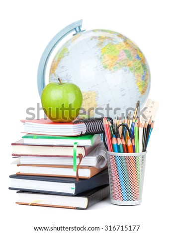 School and office supplies. Notepads, colorful pencils, apple and globe. Isolated on white background - stock photo