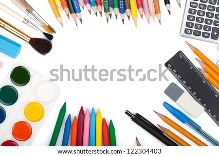 School and office tools. View from above. Isolated on white background - stock photo