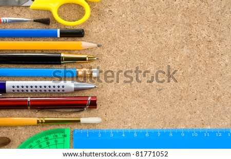 school and office tools with copy space - stock photo