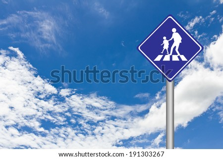 School area sign,Sign warning of pedestrian crossing and crosswalk with blue sky - stock photo