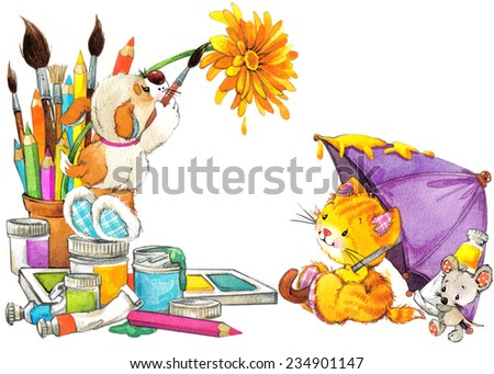 school background. stationery things with pencils, brush and tubes of paint for children. watercolor - stock photo