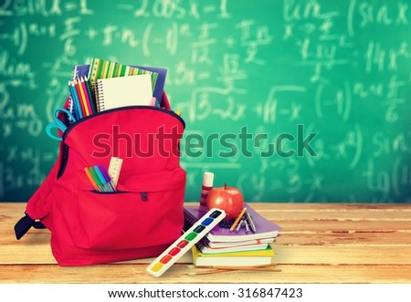 School backpack. - stock photo