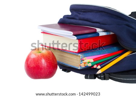 school backpack full of stationery isolated on white background - stock photo