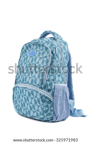 School backpack isolated on white - stock photo