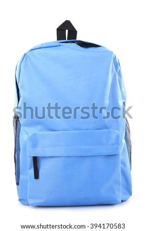 School backpack, isolated on white - stock photo