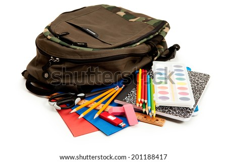 School: Backpack Surrounded By School Supplies - stock photo