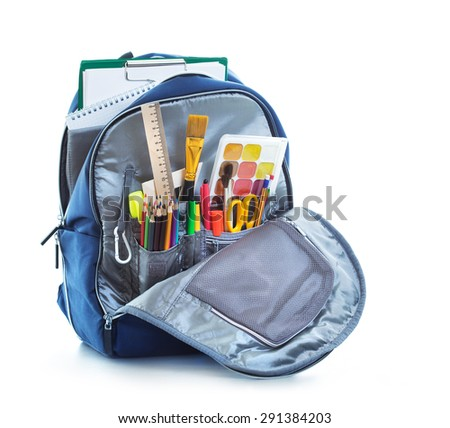 School bag on white background - stock photo