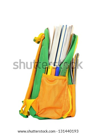 school bag with books on white - stock photo