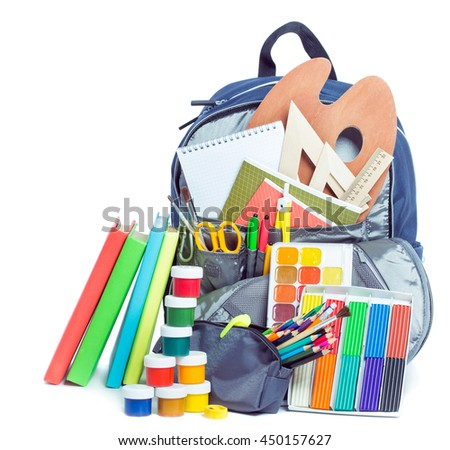 School bag with things for school - stock photo