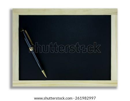 School blackboard and pen on white - stock photo